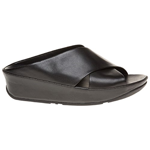 FitFlop trade; Womens Kys™ Leather Slide Sandals All Black Size 7 by FitFlop (Image #1)