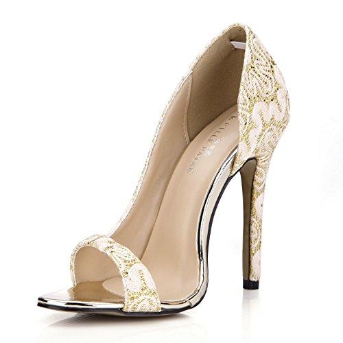 Best 4U® Sandalias de encaje transpirable de verano para mujer Bombas Básicas Zapatos de tacón alto de goma 12CM de tacón alto con suela redonda de oro blanco , Oro , EU38