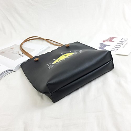 LHWY Unisex Moda Letra Impresa Bolso Casual Bolso Bandolera Bolsa De Cremallera Negro 1