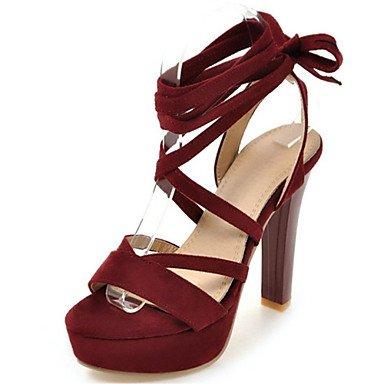 LvYuan Tacón Stiletto-Zapatos del club Gladiador-Sandalias-Informal Vestido-Terciopelo-Negro Rojo Gris gray