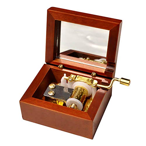 Play (What a Wonderful World) Wooden Hand Crank Music Box with Sankyo Musical Movement