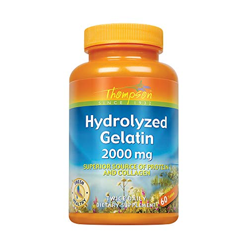Thompson Nutritional Products Hydrolyzed Gelatin 2000mg 60 TAB (Best Gelatin For Joints)