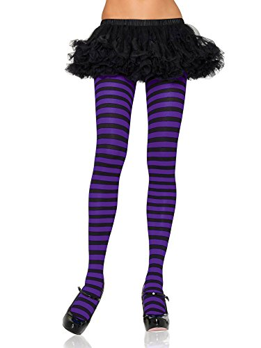 Green And Purple Striped Tights (Nylon Striped Tights Adult Hosiery Black/Purple Plus Size -)