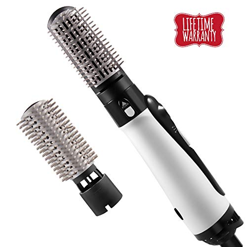 JUHALL 1300W Hair Dryer & Volumizer, 2-in-1 Hot Air Brush Styler and Dryer With 360° Rotatable Cord Auto Shutoff for Hair Styling & Frizz Control White