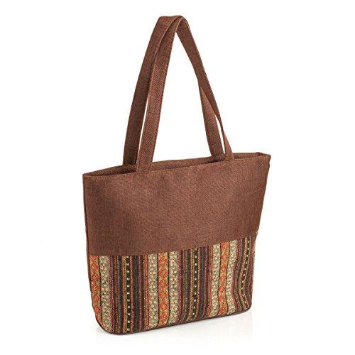 bag Canvas tribal Brown Ladies beach print tone bag day bag zqdwt6w