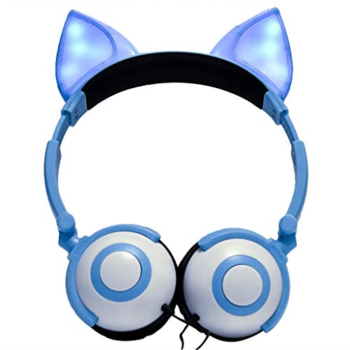 Birdfly Lovely Network Anchor Flashing Glowing Fox Ear Headphone Gaming Headset LED Light Earphone (Blue)