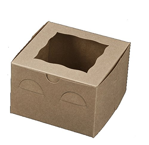 Brown Bakery Box With Window 6x6x4 inch - 25 Pack - Eco-Friendly Paperboard Take Out Gift Boxes for Pastries, Cookies, Cupcakes, and more - by California Containers