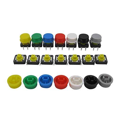 TWTADE / 70pcs Momentary Tact Tactile Push Button Switch 12x12x12mm 4 Pin + 70pcs Switch Cap (Each Color 10pcs)