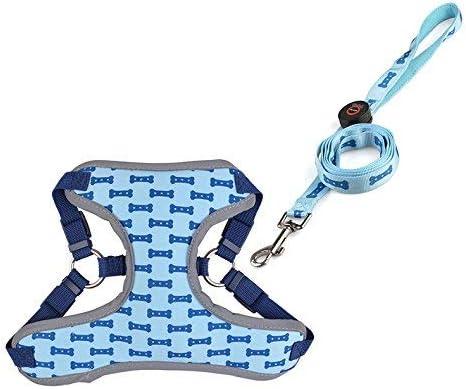 Chiots Bleu YONFAN Harnais Lumineux avec Laisse LED pour Chien avec Harnais R/églable pour Petite et Moyenne Taille Chiens
