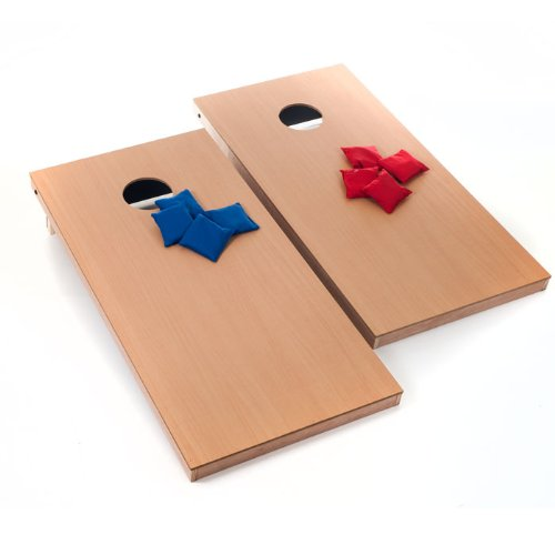 Official Size Wooden Cornhole Bean Bag Toss Game - Includes Bonus Mini Tabletop Cornhole Game Set! by TMG
