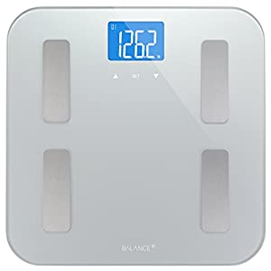 Digital Body Fat Weight Scale by Balance, Accurate Health Metrics, Body Composition & Weight Measurements, Glass Top, with Large Backlit Display