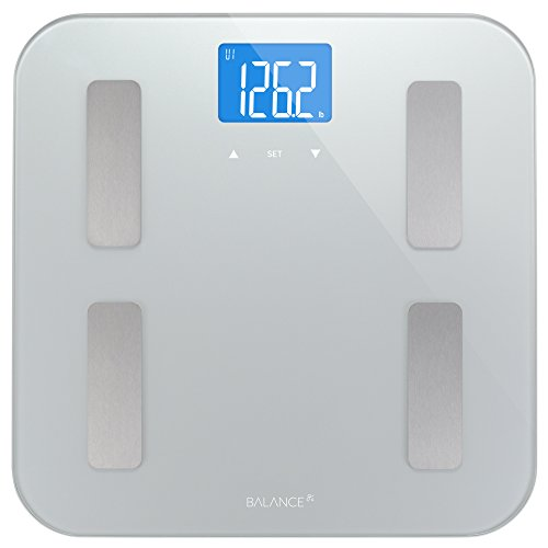 Digital Body Fat Weight Scale by GreaterGoods, Accurate Health Metrics, Body Composition & Weight Measurements, Glass Top, with Large Backlit Display