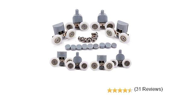 Puerta de ducha con ruedas para puerta de ducha, ruedas, puerta de ducha, 4 x alto y 4 x bajo cuarto de baño, 25 mm, 8 unidades: Amazon.es: Bricolaje y herramientas