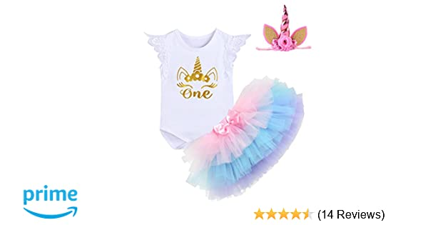 eae9b1eb0 Amazon.com  Unicorn Outfits Baby Girl Romper + Ruffle Tutu Skirt + ...