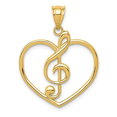 14k Yellow Gold Treble Clef In Heart Pendant Charm Necklace Musical Fine Jewelry Gifts For Women For Her ()