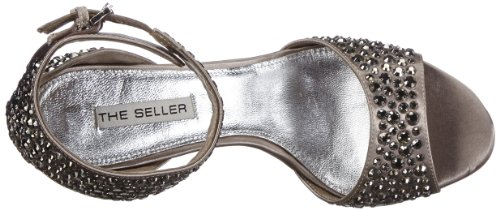 The Seller S1486 - Sandalias de satén para mujer Gris (Grau (PERLA))