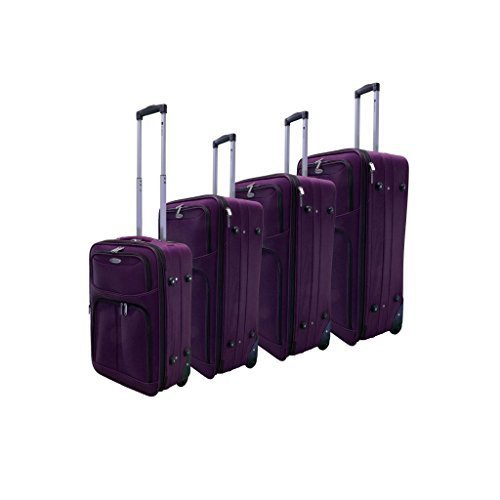 Dumont 4-Piece Expandable Lightweight Rolling Luggage Set, Purple