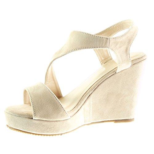 Angkorly - damen Schuhe Sandalen Mule - Plateauschuhe - Sexy - String Tanga - Schleife - golden Keilabsatz high heel 10 CM - Beige