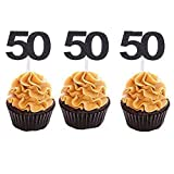 Set of 36 Black Number 50 Cupcake Toppers 50th Birthday Celebrating Party Decors