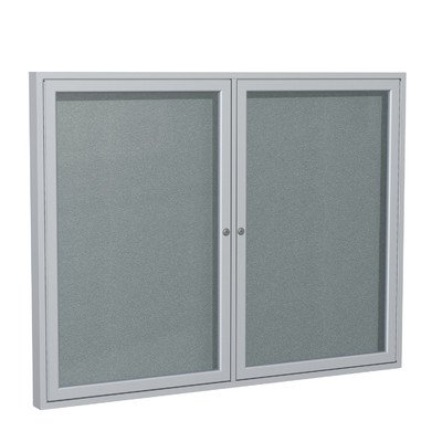 2 Door Outdoor Enclosed Bulletin Board Size: 3' H x 4' W, Frame Finish: Satin, Surface Color: Stone