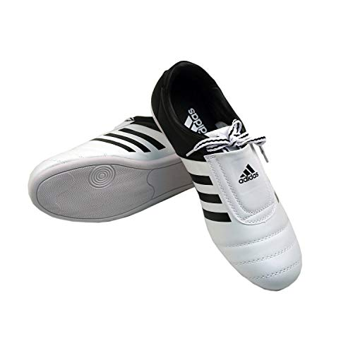 adidas KICK Shoes Martial Arts Sneaker White with Black Stripes (9) (Martial Arts Shoes Women)