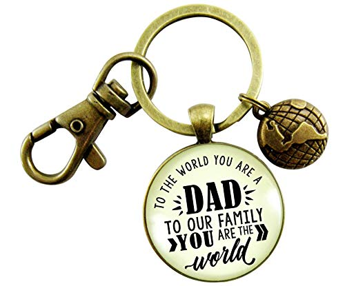 Father Keychain To The World You Are A Dad Family Gift From Son Daughter Vintage Inspired Mens Charm Key Ring