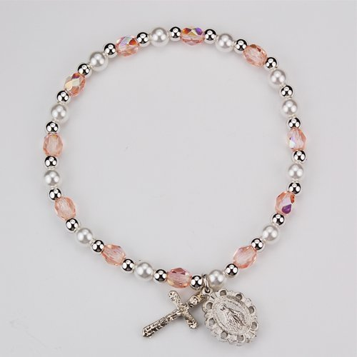 (Youth  Girls Rosary Stretch Bracelet Rose Bead October Birth Month  Perfect for  Church, First  Communion, Easter)