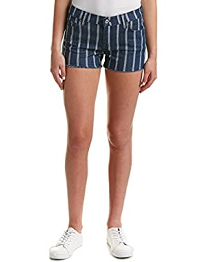 Seven For All Mankind Womens 7 For All Mankind Stripe Cut Off Short, 28, Blue