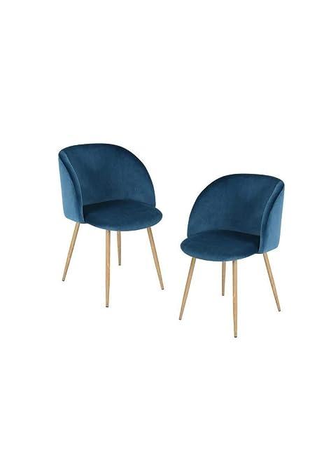 scandinave de Bleu YNEZ chaises Lot Velours Style L 2 4AjLq35R