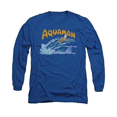 Sons of Gotham Aquaman Aqua Swim Adult Long Sleeve T-shirt Xl (Adult Swim Shirts Tee)
