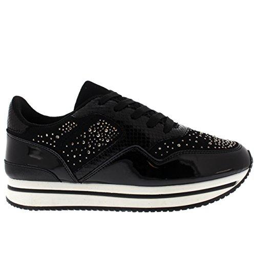 Scarpe Da Donna Diamante Festival Leggero Sneakers Moda Comoda Nero / Bianco