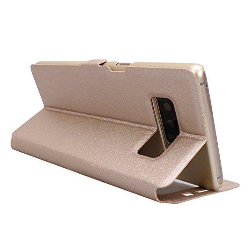 Galaxy Note 8 Funda Libro, Galaxy Note 8 Flip Case Cover, Moon mood PU Cuero Cubierta Piel con Tapas Interior Dura PC Parachoque para Samsung Galaxy Note 8 SM-N950 6.3 pulgada a Prueba de Choques Prot Oro