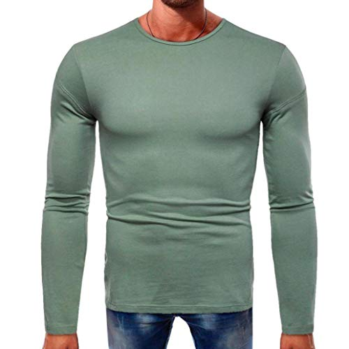 vermers Men Casual Long Sleeve T Shirt Clearance - Mens Fashion Beefy Muscle Basic Tops Leisure O-Neck Solid Blouse(L, Green) by vermers