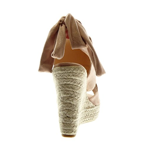Angkorly Zapatillas Moda Sandalias Mules Plataforma Peep-Toe Open-Back Mujer Galón Cuerda Trenzado Plataforma 13 cm rosa pálido