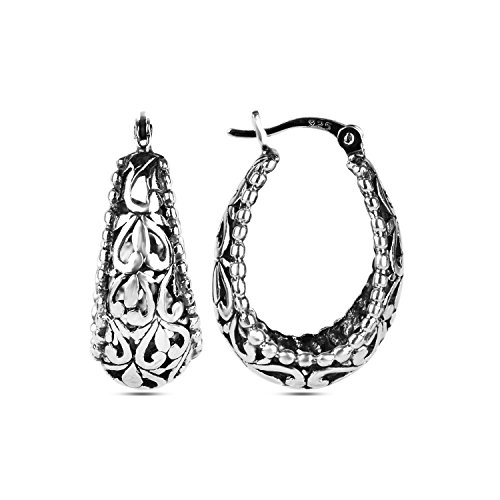 LeCalla Sterling Silver Jewelry Filigree Hoop Earrings for Women (Sterling Silver Earrings Antique)