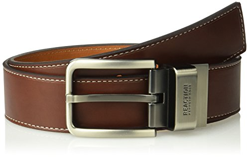 Kenneth Cole REACTION Men's Oil Tanned Leather Reversible (Brown Oil Tan Leather)