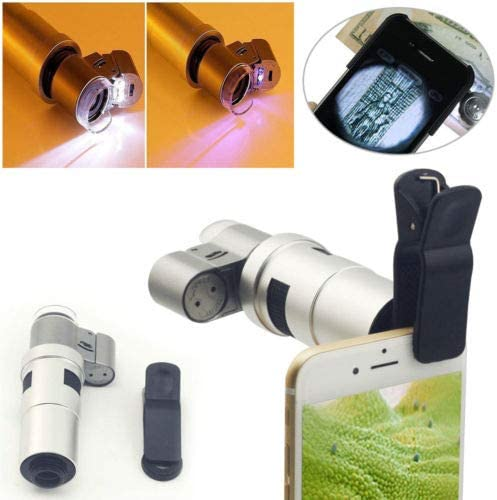 FidgetGear 65X 100X 200X Zoom Clip-on HD Microscope Phone Camera Lens with LED for Mobile 200X Microscope Camera Lens LG X Skin//Style 5.0