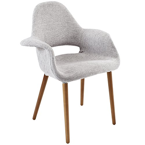 Modway Aegis Mid-Century Modern Upholstered Fabric Organic Dining Armchair With Wood Legs In Light Gray - Designer Style Fabric Upholstered Chair