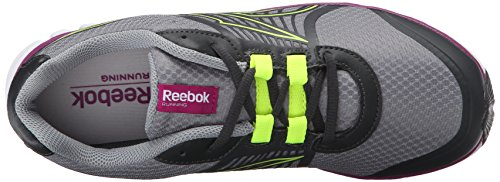 Reebok Womens Velocità Duo Super-scarpa Da Corsa Grigio Medio / Ghiaia / Giallo Solare Feroce Fucsia / / Bianco