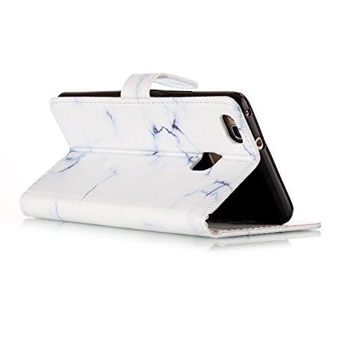 Funda Huawei P9 lite,SainCat Funda de cuero sintético tipo billetera con de Suave PU Carcasa Con Tapa y Cartera, Elegante Estuche Caja,Pintado en relieve árbol Cuero de la PU Leather Cubierta Plegable Mármol blanco