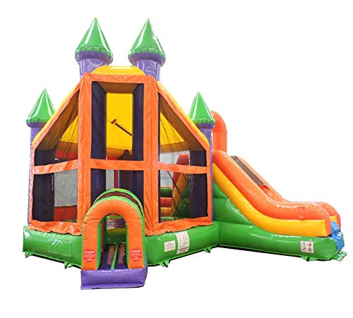 Deluxe Castle Green and Orange Rainbow Bounce House and Slide Combo for Kids and Adults, 19-Foot Long by 15-Foot Wide by 16-Foot Tall, Commercial Grade Inflatable, Blower and Stakes ()