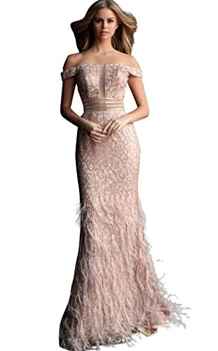 Jovani - Illusion Paneled Off Shoulder Fringed Gown 62744 Rose/Gold
