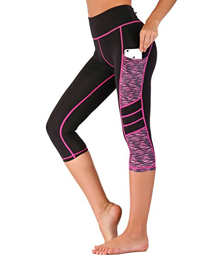 IMIDO Women's Yoga Capri Pants Sport Tights Workout Running Leggings with Side Pocket (M, Hot Pink Capri Pants)