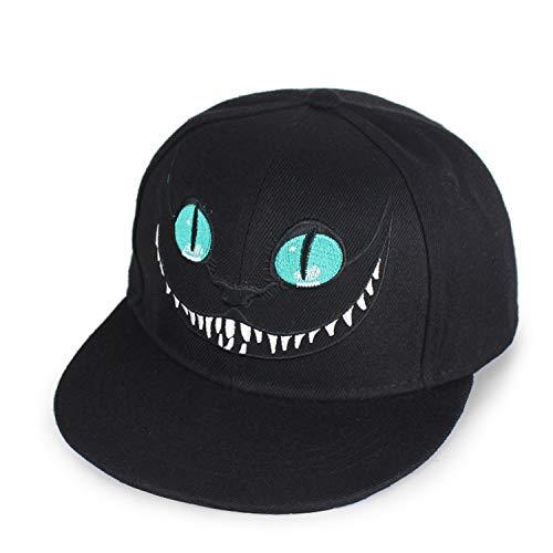 Wonderland Cheshire Cat Cartoon Baseball Caps Embroidered Monster Eye Teeth Hip Hop Hats for Men's Women Hat Black -