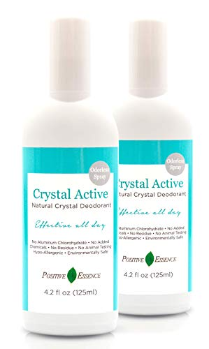 Crystal Deodorant Spray - 100% NATURAL, LONG LASTING, Single Ingredient, No Aluminum Chlorohydrate or Chemicals - Unscented/Odorless, Thai Crystal Deodorant Spray, Mineral Salt Spray 4.2oz/125ml