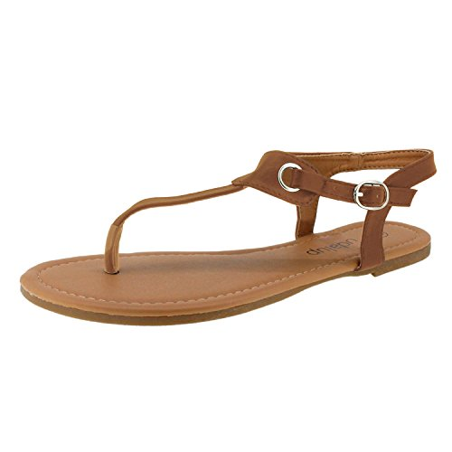 Sandalup Women's Claire Thong Flat Sandals with Buckle Brown Size 05 (Roman Outfits For Womens)