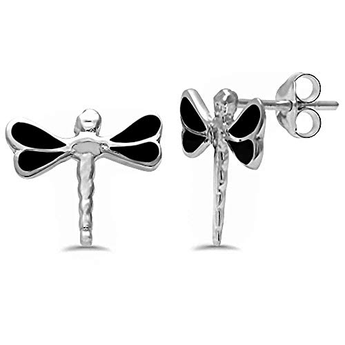 Dragonfly Stud .925 Sterling Silver Earrings COLOR OPTIONS AVAILABLE (Black Onyx) ()