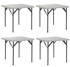 "Sandusky SPT323229 Folding Plastic Square Table, 32"", White (Pack of 4)"