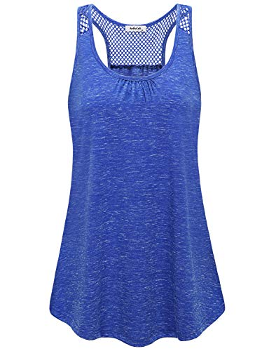 AxByCzD Cotton Tank Top Women,Juniors Stylish Outdoor Activewear Gym Shirts Sleeveless Backless Summer Sport Clothing Moisture Wicking Casual Workout Vest Feminine Athleisure Mesh Blouse Blue XL