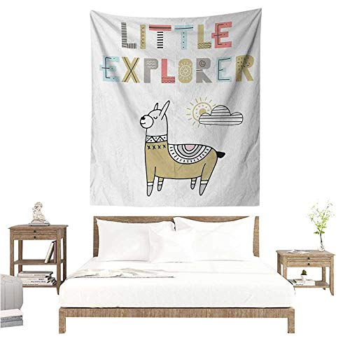 WilliamsDecor Dormitory Decorated Sand Tapestry Kids Hand Drawn Colorful Llama on Sunny Day with Little Explorer Quote in Colorful Letters 51W x 60L INCH Suitable for Bedroom Living Room Dormitory